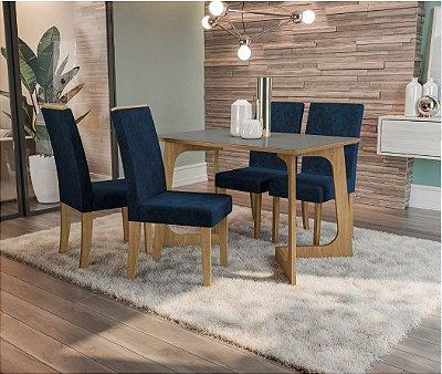 Conjunto Mesa de Jantar com 4 Cadeiras Liana com Vidro