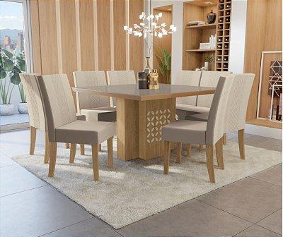 Conjunto Mesa de Jantar com 8 Cadeiras Helena com Vidro