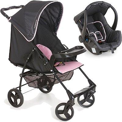 Carrinho de Bebe e Bebe Conforto Galzerano Romano Onyx Rosa