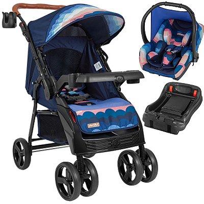 Carrinho de Bebe Tutti Baby Sky com Bebe Conforto Base Azul