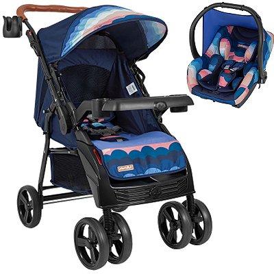 Carrinho de Bebe Tutti Baby Sky com Bebe Conforto Azul