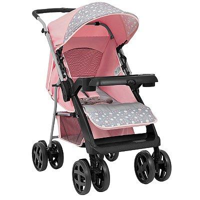 Carrinho de Bebe para Passeio Tutti Baby Joy Rosa Reversível