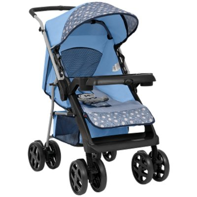 Carrinho de Bebe para Passeio Tutti Baby Joy Azul Reversível