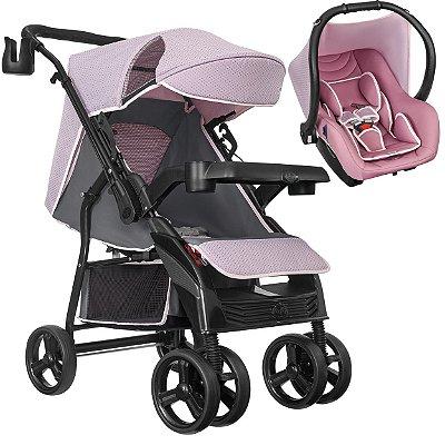 Carrinho de Bebe Tutti Baby Nivo Rosa com Bebe Conforto