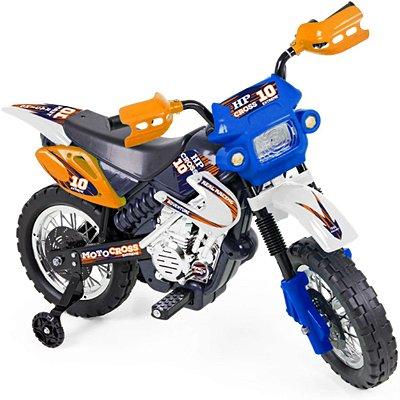 Moto Eletrica Infantil Xplast Motocross 6V Azul com Rodinhas