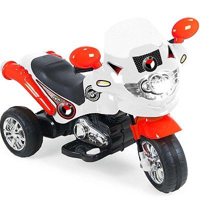 Moto Eletrica Infantil Xplast Speed Chopper 6V Branca Vermelha