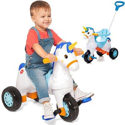 Carrinho de Passeio e Pedal para Bebe Calesita Fantasy Azul