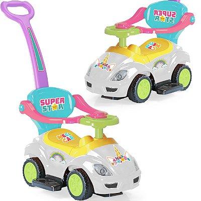 Carrinho de Passeio Andador Xplast Mega Car Unicórnio Branco