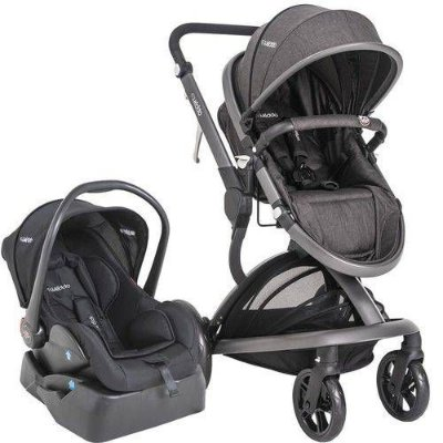 Carrinho de Bebe Bebe Conforto e Base Kiddo Quantum Melange Preto