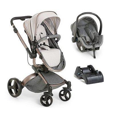 Carrinho de Bebe Bebe Conforto e Base Dzieco Vulkan 360º Cinza