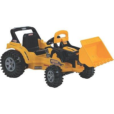 Trator Eletrico Infantil Biemme Big Boss 12V Com Pá Amarelo