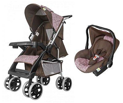 Carrinho de Bebe com Bebe Conforto Tutti Baby Thor Rosa Onça
