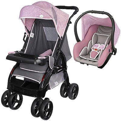 Carrinho de Bebe com Bebe Conforto Tutti Baby Upper Rosa