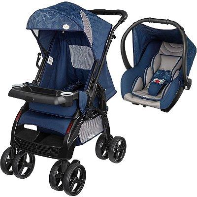 Carrinho de Bebe com Bebe Conforto Tutti Baby Upper Azul