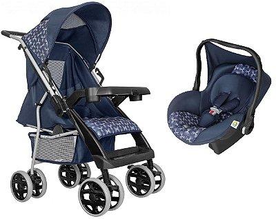Carrinho de Bebe com Bebe Conforto Tutti Baby Thor Azul New