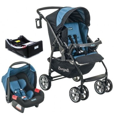 Carrinho de Bebe Bebe Conforto e Base Burigotto AT6 K Preto/Azul