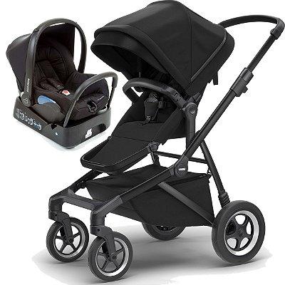 Carrinho de Bebe Sleek Thule com Bebe Conforto e Base Citi Maxi Cosi Preto