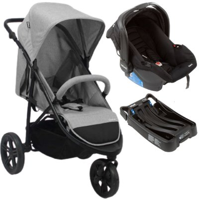 Carrinho de Bebe Infanti Collina com Bebe Conforto e Base Cinza Grey Style