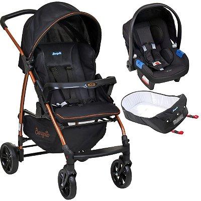Carrinho de Bebe Bebe Conforto e Ninho Burigotto Ecco Preto Bronze