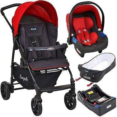 Carrinho de Bebe Bebe Conforto Base e Ninho Burigotto Ecco Cinza Vermelho