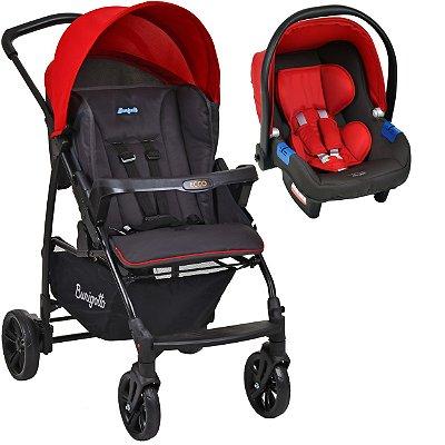 Carrinho de Bebe Bebe Conforto Burigotto Ecco Cinza Vermelho