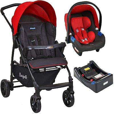 Carrinho de Bebe com Bebe Conforto e Base Burigotto Ecco Cinza Vermelho