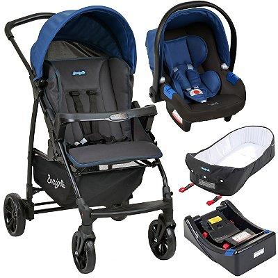 Carrinho de Bebe Bebe Conforto Base e Ninho Burigotto Ecco Cinza Azul