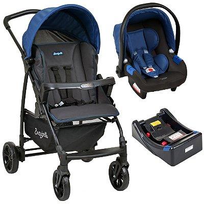 Carrinho de Bebe com Bebe Conforto e Base Burigotto Ecco Cinza Azul