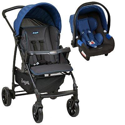 Carrinho de Bebe com Bebe Conforto Burigotto Ecco Cinza Azul