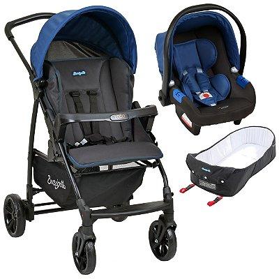 Carrinho de Bebe com Bebe Conforto e Ninho Burigotto Ecco Cinza Azul