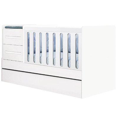 Berço Cama com Auxiliar Planet Baby Premium 5 em 1 Branco Acetinado