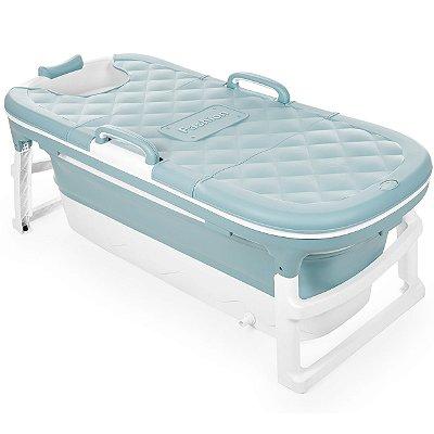 Banheira Dobravel Baby Pil Extra Grande Azul 280L com Cover