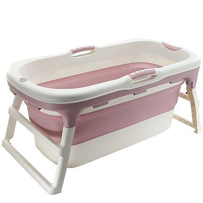 Banheira para Bebe Dobravel Baby Pil Grande Rosa 180L