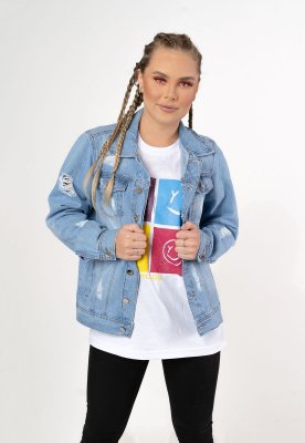 Jaqueta jeans destroyed clara Yellou