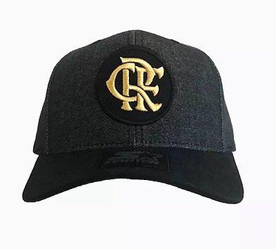 Boné Starter Oficial do Flamengo - Cinza, logo dourada, aba preta.