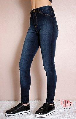 797e31295ea6b Calça Cintura Alta Hot Pants Azul Escura - Lady Rock