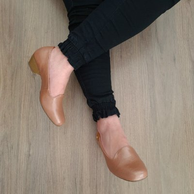 Sapato Scarpin Feminino Salto Grosso Bico Redondo Dom&amazona 285409