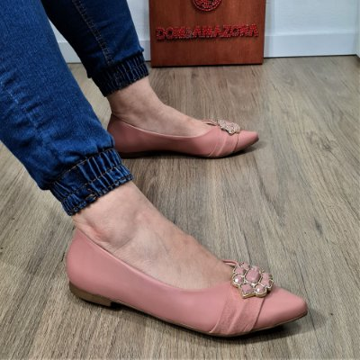 Sapatilha Bico Fino Numeração Especial Petala Nude Rosê 23462