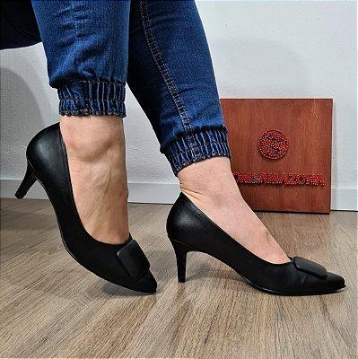Sapato Scarpin Feminino Numeração Especial Preto Salto Médio 23598