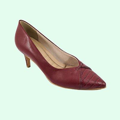 Sapato Scarpin Feminino Numeração Especial Marsala Salto Médio 23637