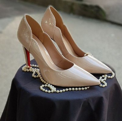 Sapato Scarpin Feminino Salto Alto Verniz Nude Dom Amazona Cód 31