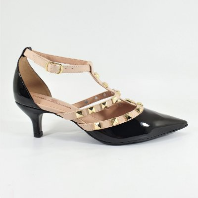 Sapato Scarpin Pirâmides Numeros Grandes Preto Verniz Cód 02