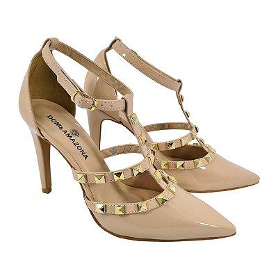 Sapato Salto Alto Estilo Valentino Dom Amazona Creme Verniz Cód41