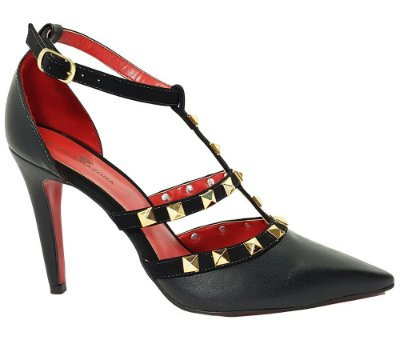 Sapato Salto Alto Estilo Valentino Dom & Amazona Preto Spike Cód 41