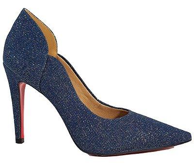 Sapato Scarpin Feminino Salto Alto Jeans Azul Cód 31