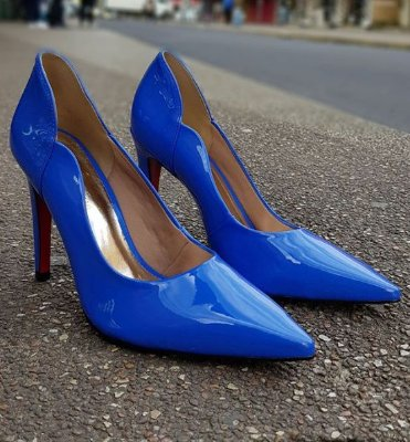 Sapato Scarpin Feminino Salto Alto Verniz Azul Dom Amazona Cód 31