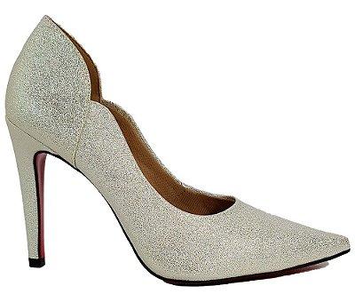Sapato Scarpin Feminino Salto Alto Dourado Ouro Dom Amazona C 31
