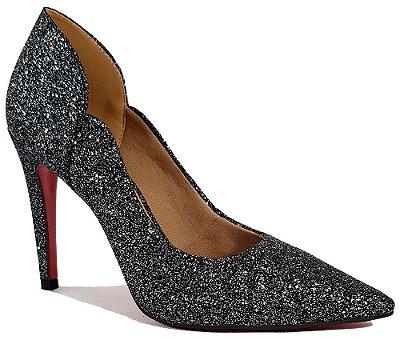 Sapato Scarpin Salto Alto Preto Gliter Elegance Dom Amazona Cód 31