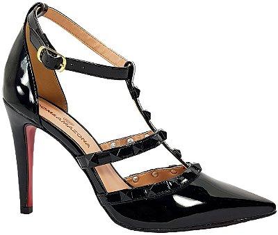 Sapato Salto Alto Estilo Valentino Dom Amazona Preto Verniz Cd 41
