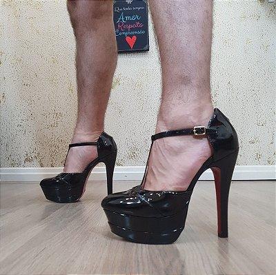 Sapato Salto Alto Dom Amazona Preto Verniz Numeros Grandes Cd70